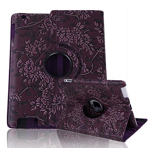 HDE iPad 2/3/4 Tablet Case Rotating Flip Stand Folding Magnetic Cover Designer for Apple iPad 2/3/4 (Dark Purple Flower)