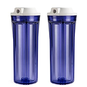 iSpring HC12X2 1/4   Slimline Water Housing Clear for Reverse Osmosis System 2.5 Inch x 10 Inch Filters Pack of 2