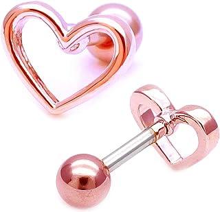 【16G 】ピンクゴールド ボディピアス 軟骨ピアス オープンハート 光沢感 が大人可愛い METALHEART シンプル メタル ヘリックス ロブ ゲージ ssa 0303