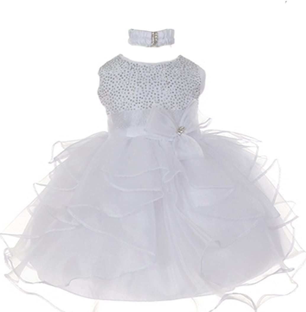 stylesilove Baby Girls Organza Rhinestuds D Girl Flower Bow Financial sales Max 50% OFF sale Sash