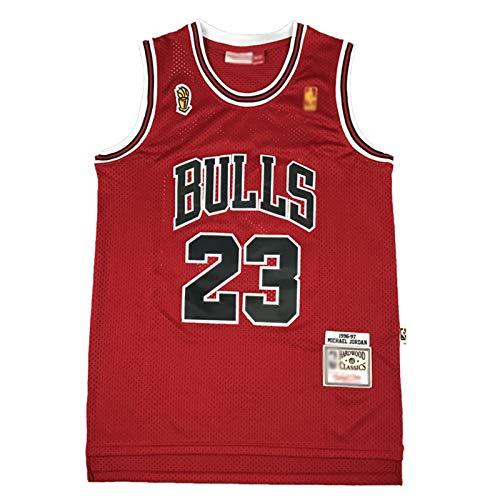 CLKJ Bulls Michael Jordan 96-97 Championship Edition - Camiseta de baloncesto clásica retro para hombre, secado rápido, transpirable, rojo-L