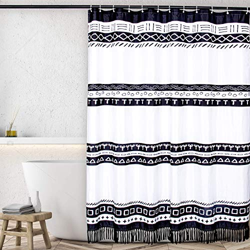 """Jonhier Black and White Boho Shower Curtain with Tassels, Tribal Modern Farmhouse Chic Waterproof Fabric Bathroom Curtains, Bohemain Heavy Weighted Bath Decor Set with Hooks (72"""" x 72"""", White)"""