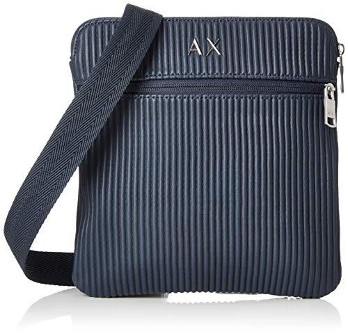 Armani Exchange Men's Small Crossbody Bag with Double Zippers, Navy, UNI