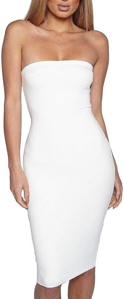 Women's Tube Top Dresses with Sleeveless Sexy Bodycon Club Dress