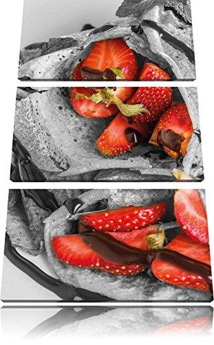 Pannenkoeken met aardbeien en chocolade glazuurFoto Canvas 3 deel | Maat: 120x80 cm | Wanddecoraties | Kunstdruk | Volledig gemonteerd