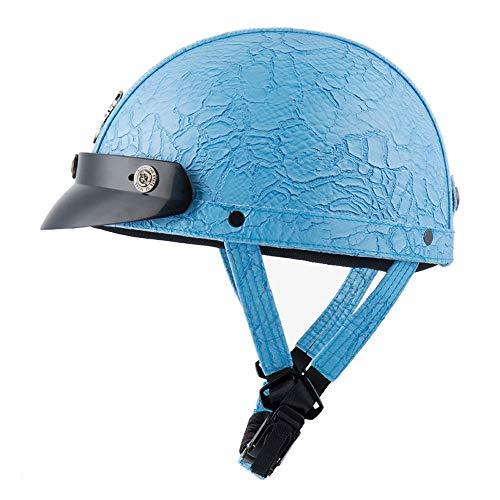 U/D Casco de la Motocicleta Hombres Mujeres Deportes Seguridad Sombrero de protección Protección Carcasa del Casco de Bici de la Vespa (Color : 02Blue)