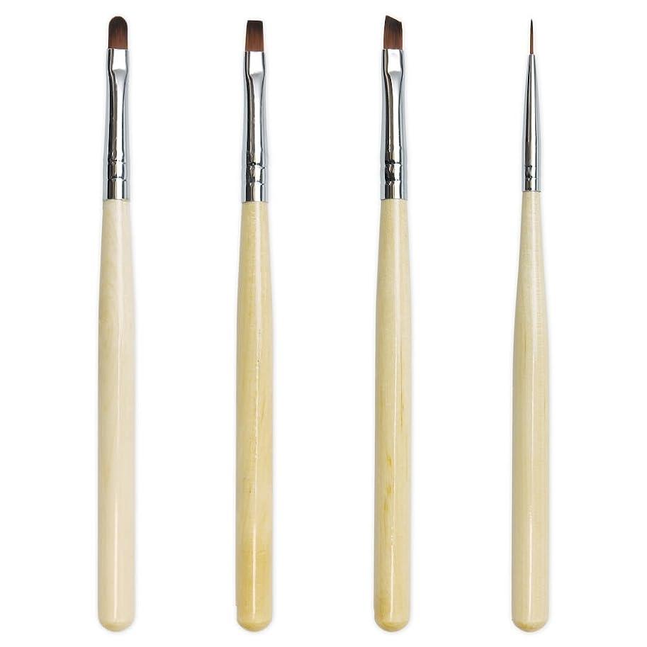 次有益な押し下げるジェルネイル《使い勝手の良い木目ブラシ》GEL BRUSH SET ジェルブラシセット(4種類パック)