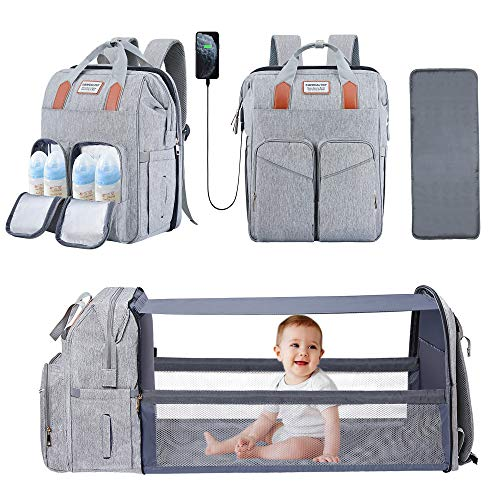 Baby Diaper Bag Backpack with Bassinet Changing Station Foldable Mommy Diaper Bag Waterproof Change Bag for Newborn Girls Boys Grey