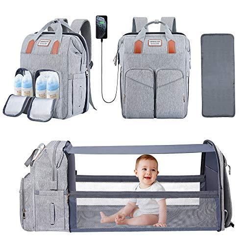 Bolsa de pañales para bebé con cambiador de moisés, plegable, bolsa de pañales para mami, impermeable, bolsa de cambio para recién nacidos, niñas y niños, color gris