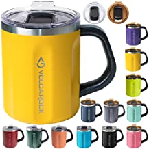 VOLCAROCK 16oz Coffee Mug with Handle and Lid, Wide Mouth Spill Proof Coffee Tumbler, Dishwasher Safe and BPA Free, Keep Cold 6 Hours and Keep Warm 5 Hours, Ideal Gifts (Mango)