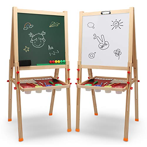 TECHMOO Kids Wooden Art Easel Double-Sided Whiteboard & Chalkboard Adjustable Children Standing Dry Easel Board for Kids Toddlers Boys Girls Painting Drawing