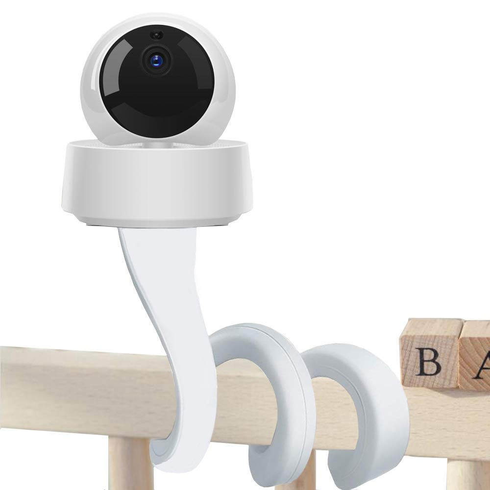 Baby Monitor Mount Shelf, Eoncore 360 Degree Infant Baby Camera Holder with 1/4 Threaded Hole Compatible with Arlo, Motorola, HelloBaby and Most Univeral Monitor Camera No Sticking No Drilling (White)
