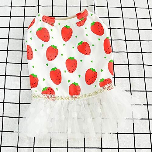 XPC-huisdierkleding Puppy zomerjurk van zacht katoen huisdier snoezige jurk met aardbeiprint plooirok voor kleine honden hondenwelp