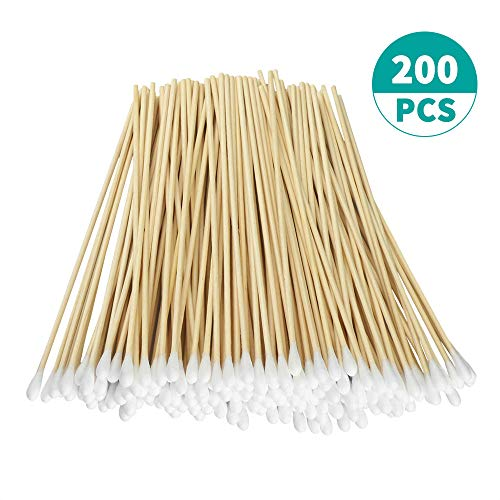 "200 Pcs Count 6"" Inch Long Cotton Swabs with Wooden Handles Cotton Tipped Applicator, Cleaning With Wood Handle for Oil Makeup Gun Applicators, Eye Ears Eyeshadow Brush and Remover Tool."