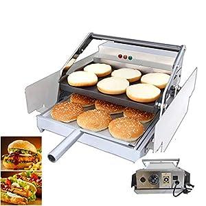 TECHTONGDA Commercial Hamburger Toaster 220V Electric Hamburger Baking Machine for Bread Heating Double-Plates 2200W