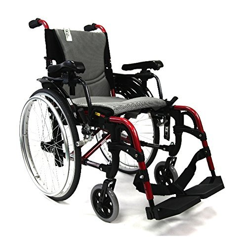 "Karman S-ERGO 305 29 lbs Ultra Lightweight Ergonomic Wheelchair S-Ergo305Q18RS Quick Release Wheels, Frame Rose Red, 18""W X 17""D Seat, Factory Adjustable Seat Height & FREE OPC Wheelchair Seatbelt!"