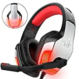 Gaming Headset für PS4 Xbox One PC Controller, DIZA100 V4 Gaming Kopfhörer mit Aluminiumgehäuse, Mikrofon, LED Light Bass Surround für Computer Laptop Mac Nintendo Switch Spiele-Rot