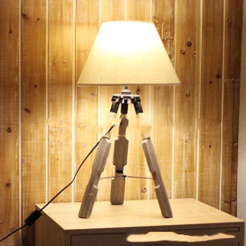 Holz Tischlampe Tripod Lampe Dreifuss Stylish Cool Design Höhe ca. 55cm,Beautiful vintage design Hanfseil Wicklung Dekoration Lampe Leselampe Dreifuss