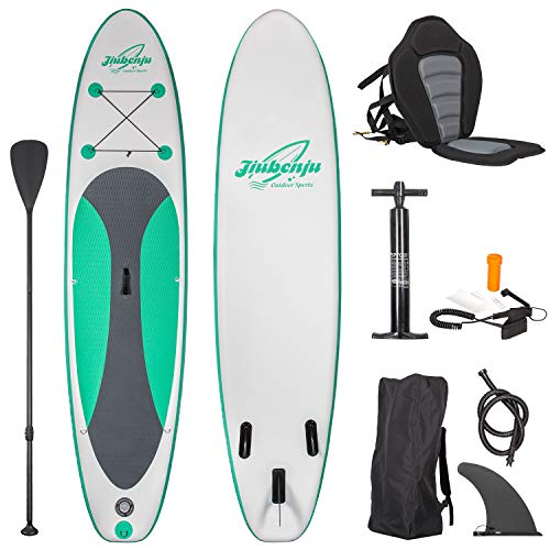 Jiubenju All Around Inflatable Stand Up Paddle Board with Kayak Seat, Supports 308 LBS, 10'6