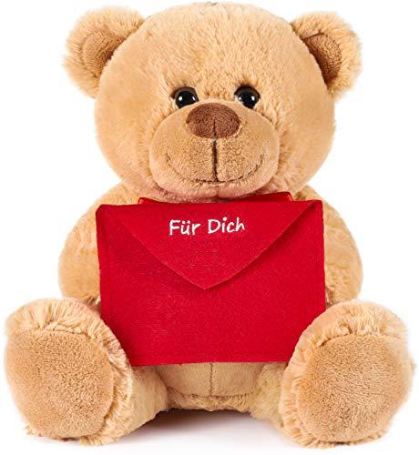 Brubaker Teddy Plüschbär mit Umschlag Rot - Für Dich - 25 cm - Teddybär Plüschteddy Kuscheltier Schmusetier - Hellbraun