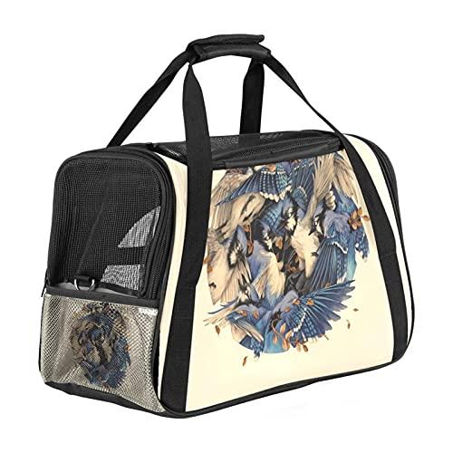 MEITD Transportador de mascotas de cara suave, aprobada por aerolínea, bolsa de viaje impermeable y plegable para pájaros de acuarela