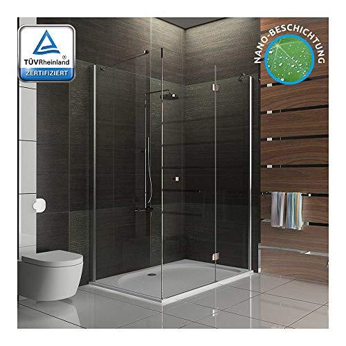 Alpenberger Antikalk Eck-Duschkabine 120 x 100 x 195 cm | ESG-Sicherheits-Glas (6 mm) | Vereinfachte Montage | Absolute Fachhandelsqualität | Hochwertige Aluminiumprofile & Massive Scharniere