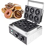 """ZXMOTO 6 Holes Donut Maker Machine Commercial Waffle Donut Machine Electric Non-stick Doughnut Maker 110V 1550W Double-Sided Heating,Depth:0.55"""",Dia:2.99"""""""
