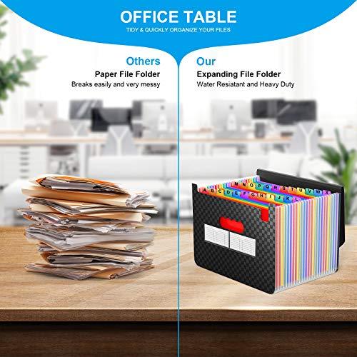 Accordian File Organizer 24 Pockets - Expanding File Folder Expandable Cover,Portable Filing Box,Desktop Accordion Folders,Plastic Colored Paper Document Paperwork Receipt Organizer(A4/Letter Size) Photo #3