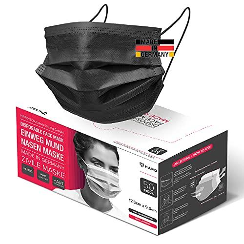 HARD 50 x Mundschutz Made in Germany, 3-lagig, schützende Mund-Nasen-Bedeckung, bequeme Zivile Einweg-Gesichtsmasken Erwachsene - Schwarz