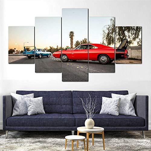 GHYTR Impresión En Lienzo 5 Piezas Cuadro sobre Lienzo 1970 Plymouth Dodg Charger Daytona Imágenes XXL 150X80Cm Oficina Sala De Estar O Dormitorio Decoración del Hogar Arte De Pared