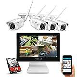 ANNKE Kit de Seguridad WiFi 1080P 8CH NVR con Monitor 12' LCD y 4 Cámaras de videovigilancia 2MP inalámbrica IP66 Sistema Plug y Play Visión Nocturna con Leds Infrarrojos Acceco Remoto-sin HDD