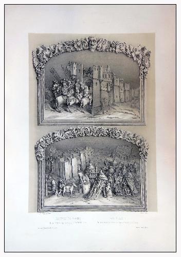 Antigua Litografía Original - Old Original Lithographie : RELIEVES EN MADERA, DE LA SILLERIA BAJA D