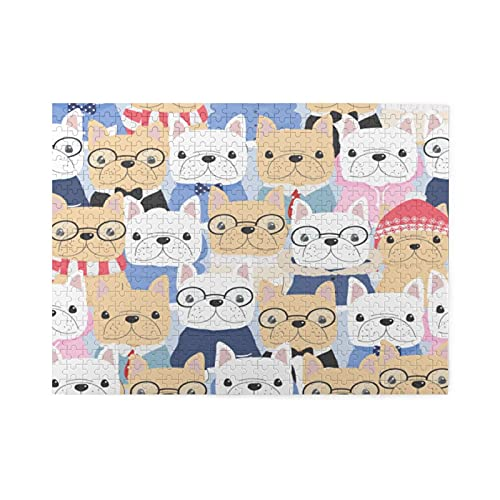 500 Piece Jigsaw Puzzle for Adults and Child-Cute French Bulldog Dog Jigsaw Puzzle Game 500-Piece,Puzzle Interactive Games for Adults and Children,Gifts for Family and Kids