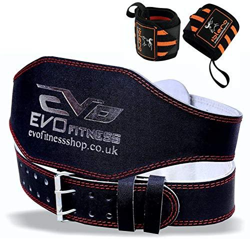 EVO Fitness 15.2cm Cuir Pur Haltérophilie Gym Ceinture Support De Dos Bandage Sport - Noir, Medium