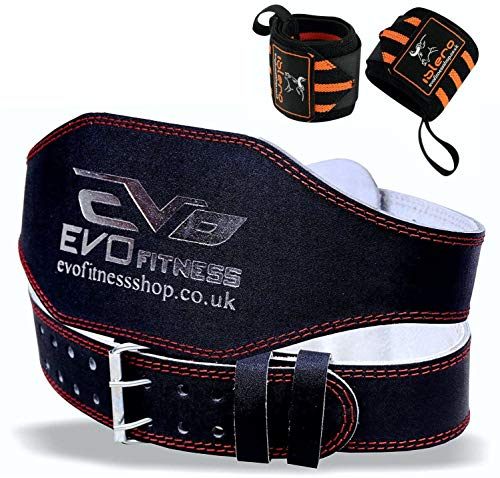 EVO Fitness 6' Pure Leather Weight Lifting Gym belts Back Support Wraps...