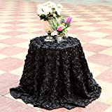 B-COOL Round Rosette Tablecloth 3D Floral Black Table Linen Rosette Table Cloth Overlay Party Tablecloth 120Inch