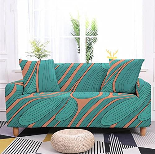 Fundas de sofá Estampadas Elástica,4 Plazas Antideslizante Ajustables Funda de Sofá,Universal Poliéster Protector Cubierta de Muebles,+2 Funda de Cojín,Verde Azul