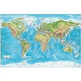 GREAT ART® XXL Póster - Mapa del mundo en relieve - Decoración Imagen de pared Proyección Gall Maps-in-Minutes ™ Geografía Cartografía Estado actual Mapa Tierra 140 x 100 cm