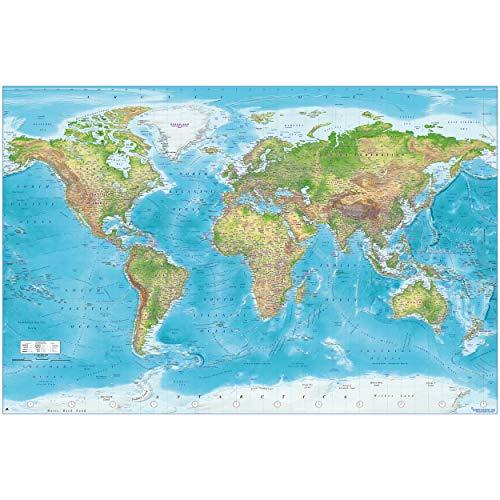 GREAT ART XXL Poster – Relief Weltkarte – Dekoration Wandbild Gall Projektion Maps-in-Minutes™ Geographie Kartographie aktueller Stand Landkarte Erde 140 x 100 cm