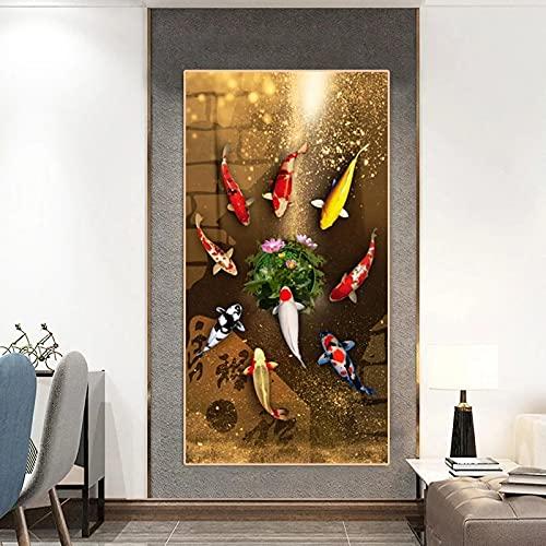 Estilo chino Koi rojo Carpa de la suerte Pintura en lienzo Pez Dorado Cartel Entrada Decoración para el hogar Imagen Anillo anual Arte de la pared 82x40cm (32x16in) Sin marco