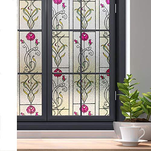 KUNHAN raamsticker zelf-privacy raamfolie deurfolie statische lijm decoratieve raamglas sticker voor thuiskantoor UV-bescherming