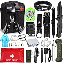Emergency Survival Kit 47 in 1 Professional Survival Gear Tool First Aid...
