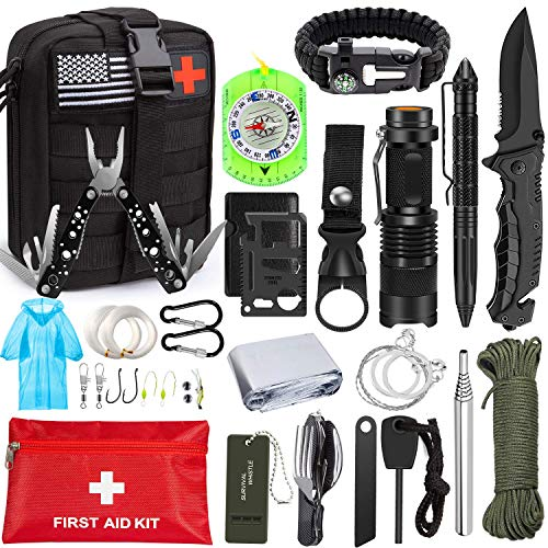 Emergency Survival Kit 47 in 1 Professional Survival Gear Tool First Aid Kit SOS Emergency Tactical...