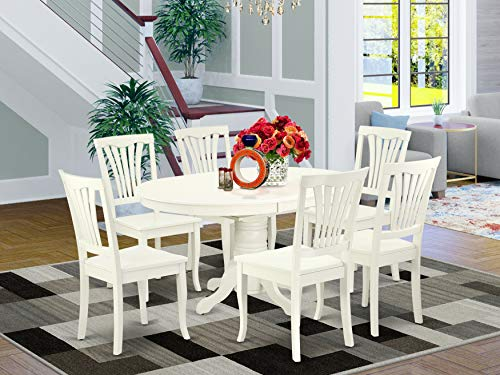 East West Furniture 7PC Oval 42/60 inch Table with 18 In Leaf and 6 vertical slatted Chairs, Linen White