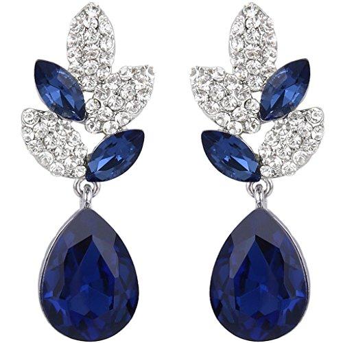 EVER FAITH® - Plata-Tono Hoja Lágrima Cristal Austriaco Pendientes Perforados Azul N03198-4