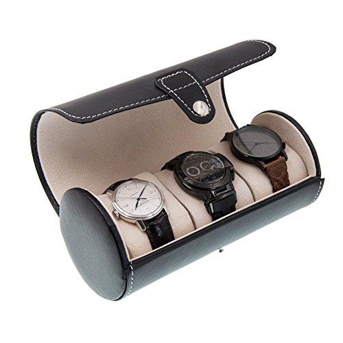 OURJOY 腕時計 収納ケース 時計ケース 3本 円筒形 腕時計ケース ウオッチケース 収納ボックス コレクションケース PUレザー ジュエリーディスプレイ 持ち運び コンパクト プレゼント ブラック
