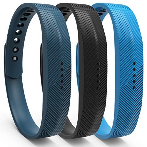 KingAcc Kompatibel Fitbit Flex 2 Armband, Weiche Silikon Ersatz Armbänder Armband für Fitbit Flex 2, Metall Schnalle Fitness Armband Uhrenarmband Frau Männer (3-Pack,SeriesA,Größer)