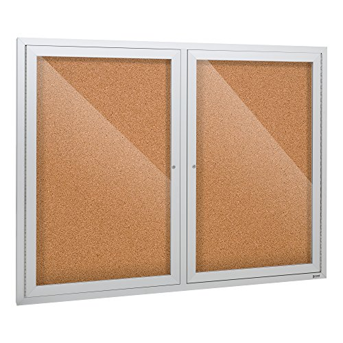 Outdoor/Indoor Enclosed Cork, Bulletin Board with Two Doors, 4' W x 3' H