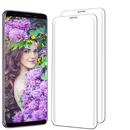Kompatibel Galaxy S9 Schutzfolie Panzerglas, 2 Stück S9 Plus Displayschutz Panzerfolie Displayschutzfolie Gehärtetem Glass 9H Härtegrad 3D Curved Display für Galaxy S9+ (Transparent, Galaxy S9 Plus)