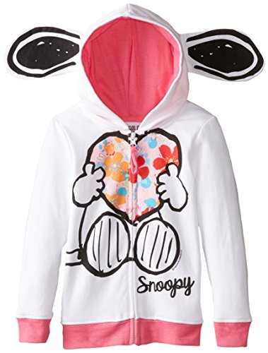 Peanuts Toddler Girls' Snoopy Fleece Hoodie With Earss, White, 2T